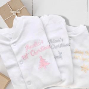 PERSONALISED unisex baby1st CHRISTMAS clothing vest babygrow ANY NAME gold tree
