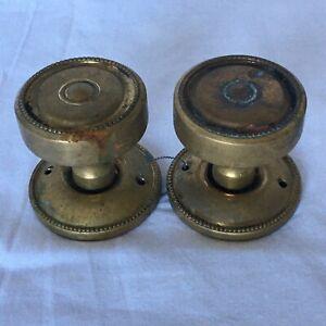 Vintage pair of brass full size door knobs
