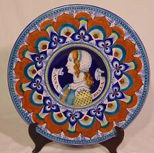 "Italian Majolica Deruta Portrait Wall Plate Firenze Woman Anna Bella 14"""