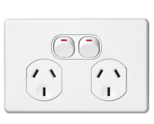 1 X Clipsal Slimline SC2025 Double Power Point Twin Switched Socket Outlet 10amp
