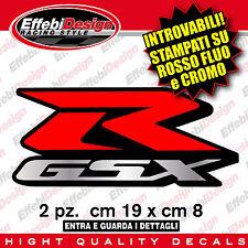 KIT ADESIVI-DECALS LOGO SUZUKI GSX-R 1000 600 750 2PZ ROSSO FLUO - REAL CROMO !