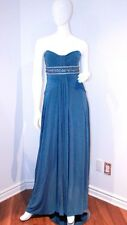 BCBG Blue EVENT Evening GOWN Long DRESS Beaded M FREE SHIPPING