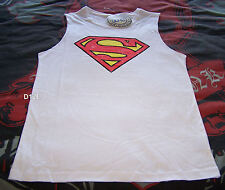 Superman Classic Logo Mens White Printed Sleeveless Muscle Top Size XXXS New