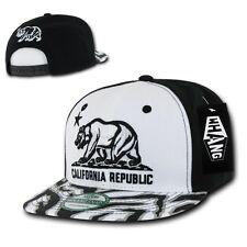 White Black California Republic Cali Zebra Print Flat Snapback Snap Back Cap Hat