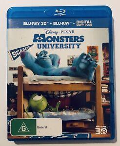 Monsters University 3D + Blu Ray 2-Discs VGC Rated G Disney Movie 🍿 Region Free