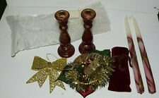 """Holiday Gift Set 12"""" Taper Candles w/ Wood Holders With Brass Inserts 7"""" & Decor"""