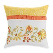 Dena Nostalgia : Meadow Square Embroidered Toss Pillow Yellow Orange Green : NEW