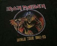 Iron Maiden Men's KO Rock N Roll World Tour Vintage Skull Black T-Shirt Large L
