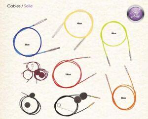 Knit Pro color Seile / Kabel mit Schlüssel und Endkappen verschiedene Längen