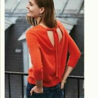 Anthropologie MOTH Red Orange V-Neck Sweater Ribbon Bow Tie Back S Small