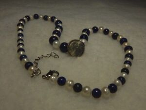 "LAPIS  & FRESHWATER PEARL 18- 20"" NECKLACE"