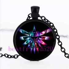 The legend of zelda Cabochon Glass Black Necklace for men woman jewelry