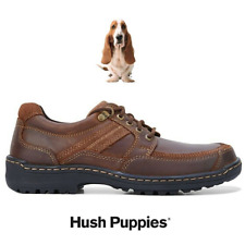 Mens Hush Puppies Albatross Leather Brown Laces Casual Work Comfortable Shoes