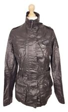 #458 Barbour International Ladies Black Tartan Lined Duralinen Jacket, UK 12