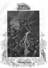DEATH OF ROBERT FAULKNOR YOUNGER WAR FIRST COALITION ~ 1853 Art Print Engraving