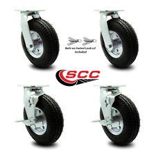 8 Inch Black Pneumatic Wheel Caster Set 4 Swivel With Swivel Locks 2 With Brakes