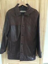Ben Sherman Men's Thick Heavy Brown Leather Jacket – One Size