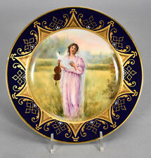 Antique Royal Vienna Hand Painted Plate - Classical Lady Violin signed W. PFOHL