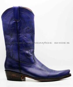 Stivali da uomo fatti a mano Stivali da cowboy in pelle blu con impunture