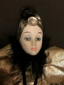 "15"" Silver Shimmer Metallic Porcelain Ceramic Clown Pierrot Doll Art Deco Style"