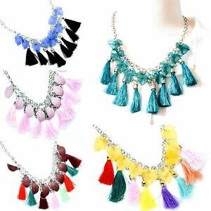 Ethnic Silver Layered Tassel Statement Necklace Festival Bohemian Boho Colours