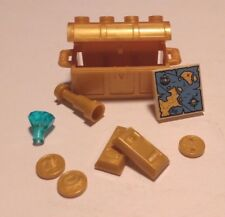 Lego Pearl Gold Treasure Chest with Gold Bars, Coins, Treasure Map & Gem NEW