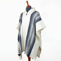 Llama Wool Unisex Mens Womens White Hooded Handmade Poncho Pullover Jacket Cape