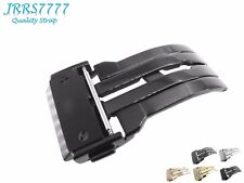 22mm Watch Strap Deployment Stainless Steel Black Brushed Buckle HUBLO Solid New
