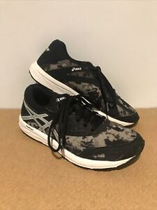 Great Pair Of Camouflage Black & Brown Trainers By Asics ~ Size UK 3 ~ US 4