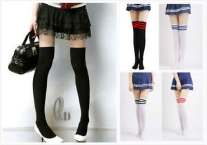 AU STOCK COTTON THIGH HIGH STOCKING OVER THE KNEE LONG SPORT SOCKS HOS050