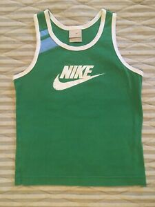 Nike Boys Girls Medium Green Tank Top Vintage Feel Sporty Shirt