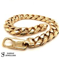 "CURB HEAVY Bracelet 375 9CT Yellow SOLID Gold Genuine 64.3gr BRAND NEW 9"" 12MM"