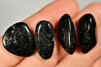 4 BLACK TOURMALINE TUMBLED STONES 20g Healing Crystals, Luck Happiness