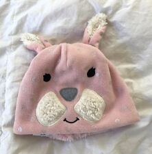 "Baby Gap Girls Winter Hat S/M Bunny Pink 20"" Sherpa Lined Shimmer Silver Dot New"
