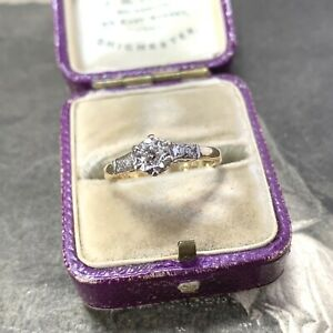 18ct Gold Diamond Engagement Ring, 0.20ct Art Deco Style Platinum Solitaire UKK+