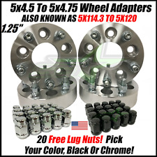 5X4.5 TO 5X4.75 WHEEL ADAPTERS SPACERS 1.25 INCH THICK 5X114.3 TO 5X120 +40 LUGS