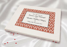 Wedding Guest Book Personalised A5 White Linen Finish Burgundy Damask
