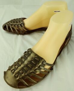 Bronx Womens Sandals EU 40 US 9 Brown Leather Woven Dorsay Flats Shoes  5120