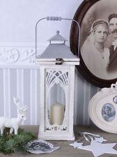 Gartenlaterne Vintage Leuchte Jugendstil Windlicht Shabby Weiss Laterne Antik