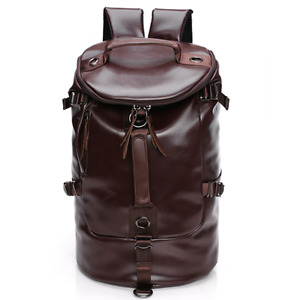 Large New Men PU Leather Duffle Gym Luggage Bag Backpack Shoulder School Bag