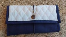 Lufthansa Amenity Cosmetic Bag Soft Shell Fold up Navy & White Quilted