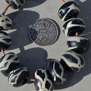 11 old antique venetian rattlesnake african trade beads #1912