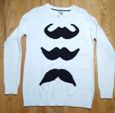 Forever 21 Knit Sweater Mustache Spiked Beads Pullover Womens Sz Medium M
