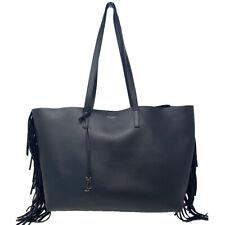 YSL Yves Saint Laurent Fringe Black Leather Tote Handbag
