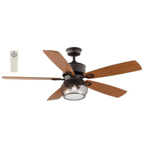 "Kichler, 52"" Satin Bronze Reversible LED Ceiling Fan Cage Drum Light Kit Remote"