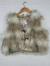 New M&S Per Una Cream Faux Fur Gilet Sleeveless Coat Bodywarmer Size M / L