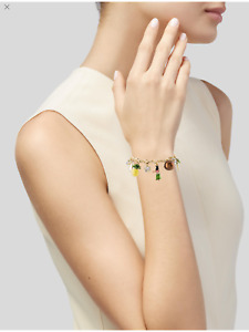 Kate Spade How Charming Hawaii Gold Enamel Crystal Charm Bracelet $128 w Pouch