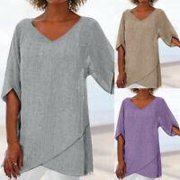Women Summer Cotton Linen Casual Baggy Tunic Tops Blouse Lady Long Sleeve Shirt