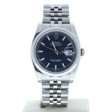 Rolex Datejust 116200 36mm Watch Jubilee Band Blue Index Dial & Smooth Bezel