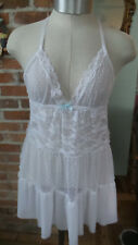 White Baby Doll Top Basque Lace Gilligan & O'Malley Adjustable Size M